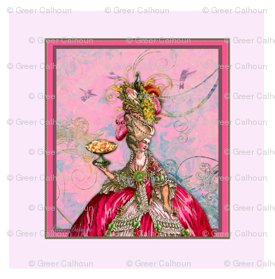 Marie Antoinette Peacock and Cakes Pillow Panel