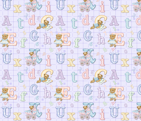 Teddy Tots Alphabet - Lavender fabric by spicetree on Spoonflower - custom fabric