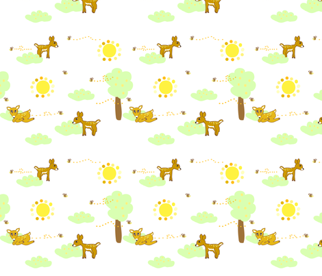 Sunny Deer fabric by palmrowprints on Spoonflower - custom fabric