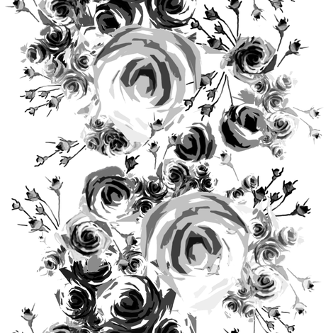 Roses in Black and Gray fabric by joanmclemore on Spoonflower - custom fabric