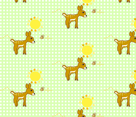 sweet sunny friends (green) fabric by fabricfarmer_by_jill_bull on Spoonflower - custom fabric
