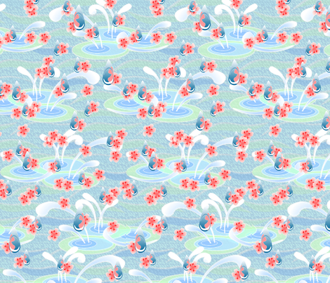 © 2011 Cherry Blossom Rain fabric by glimmericks on Spoonflower - custom fabric