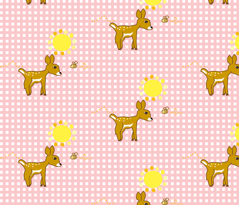 Sweet Sunny Friends (pinK) fabric by fabricfarmer_by_jill_bull on Spoonflower - custom fabric