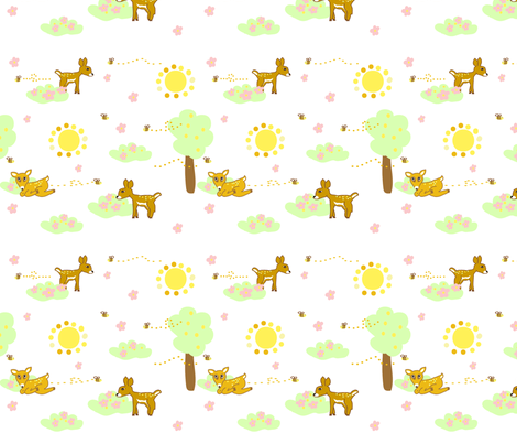 Rosy Deer fabric by palmrowprints on Spoonflower - custom fabric