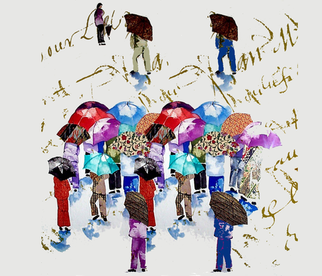 Chinese Grandmas in the rain fabric by karenharveycox on Spoonflower - custom fabric