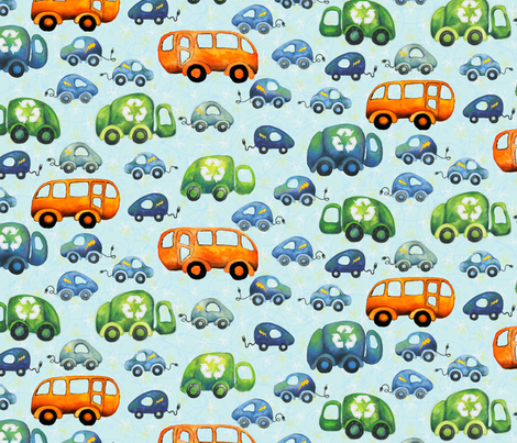Green Wheels (Medium) fabric by fussypants on Spoonflower - custom fabric