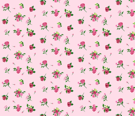 Rain Flowers pink fabric by rosapomposa on Spoonflower - custom fabric