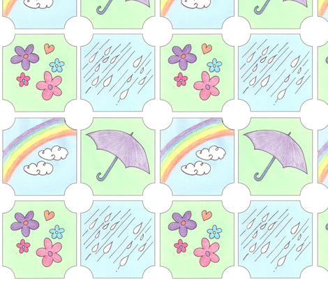 Showers & Flowers fabric by springwaterdesigns on Spoonflower - custom fabric