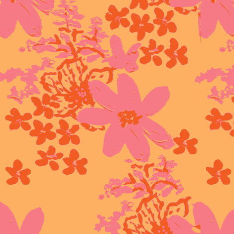 tiger lilly and daisy sorbet ©2012 Jill Bull fabric by palmrowprints on Spoonflower - custom fabric