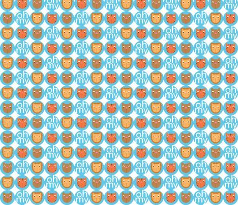 Lions, Tigers, Bears Big Circles fabric by audzipan on Spoonflower - custom fabric