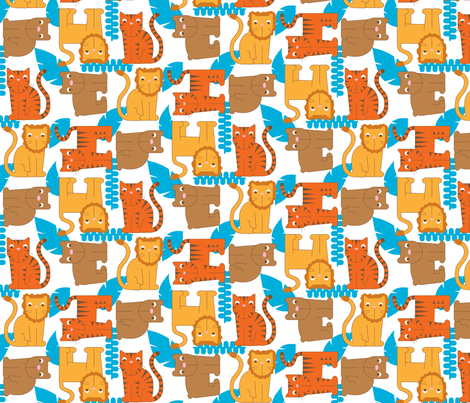 Lions, Tigers, and Bears, Oh My! fabric by audzipan on Spoonflower - custom fabric