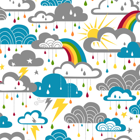 Rainbow Raindrops fabric by cherii on Spoonflower - custom fabric