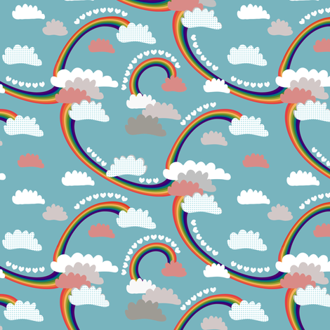 Rainbows & Clouds fabric by kezia on Spoonflower - custom fabric