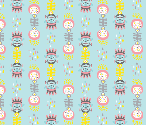 Rain god doodles fabric by zesti on Spoonflower - custom fabric