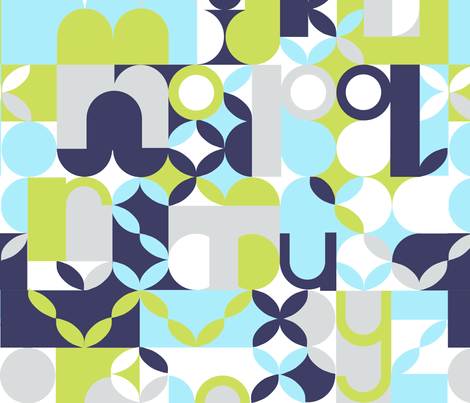 "MODERN ALPHABET in ""MIDNIGHT & LIME"" fabric by trcreative on Spoonflower - custom fabric"