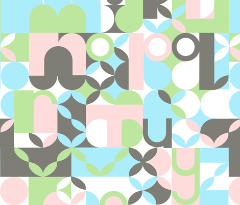 "MODERN ALPHABET in ""BLUSH"" fabric by trcreative on Spoonflower - custom fabric"