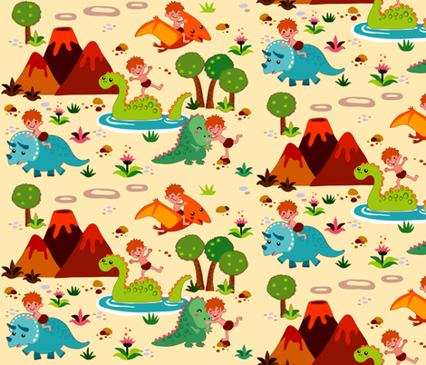 Fun with Dinosaurs | creme fabric by irrimiri on Spoonflower - custom fabric