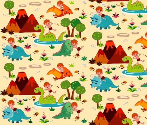 Fun with Dinosaurs | creme fabric by irrimiri on Spoonflower - custom fabric