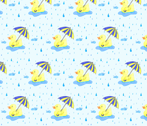 Rubber_Duckie_in_the_Rain fabric by jen-etic on Spoonflower - custom fabric