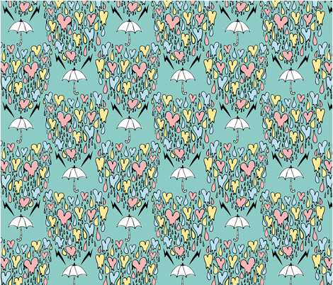 Raining hearts fabric by rockin'_juke on Spoonflower - custom fabric