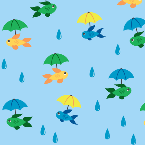 A World of Rain Fish fabric by quiltsmith on Spoonflower - custom fabric