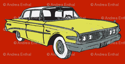1960 Edsel Ranger 2 door sedan yellow on red