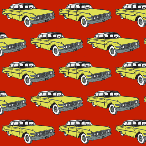 1960 Edsel Ranger 2 door sedan yellow on red fabric by edsel2084 on Spoonflower - custom fabric