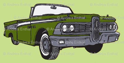 1959 olive Edsel Corsair convertible on seafoam green background