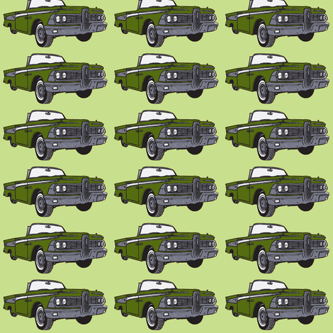1959 olive Edsel Corsair convertible on seafoam green background fabric by edsel2084 on Spoonflower - custom fabric