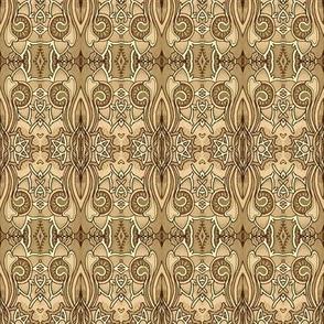 Sepia Nouveau Deco Kaleidoscope Stripe