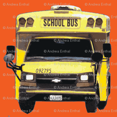 little yellow school bus on orange