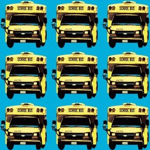 little yellow school bus on bright blue