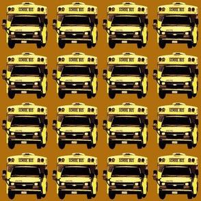 little yellow school bus on caramel