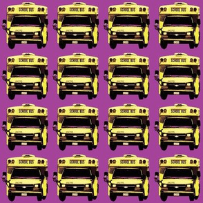 little yellow school bus on purple