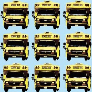 little yellow school bus on blue