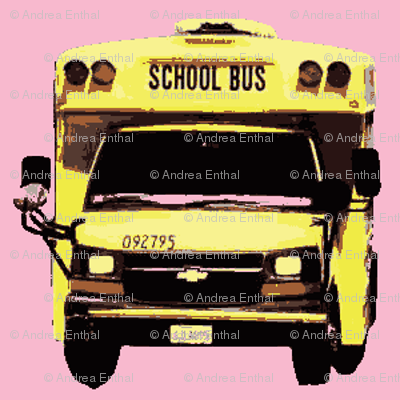 little yellow school bus on pink