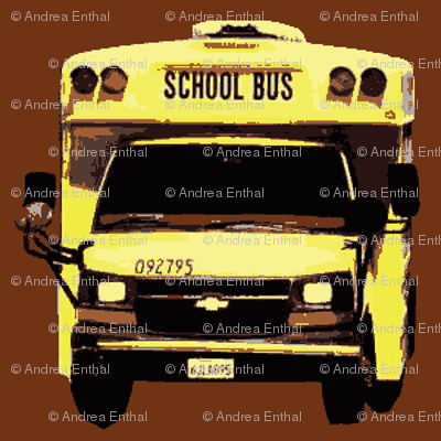 little yellow school bus on brown