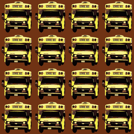 little yellow school bus on brown fabric by edsel2084 on Spoonflower - custom fabric