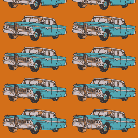 aqua 1959 Edsel Ranger on rust background fabric by edsel2084 on Spoonflower - custom fabric