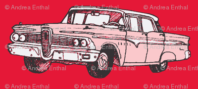 President red 1959 Edsel Ranger on real red background