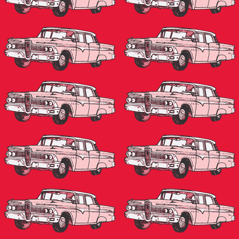 President red 1959 Edsel Ranger on real red background fabric by edsel2084 on Spoonflower - custom fabric
