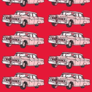 President red 1959 Edsel Ranger on real red background