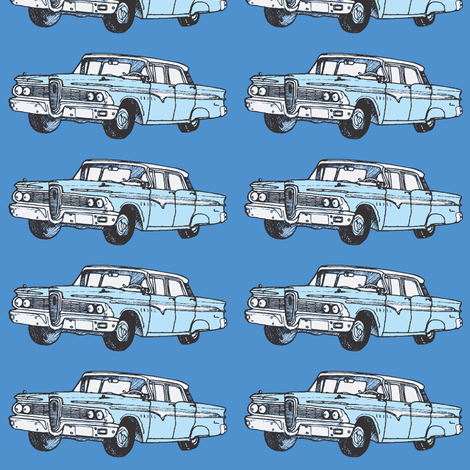 Blue 1959 Edsel Ranger on blue background fabric by edsel2084 on Spoonflower - custom fabric