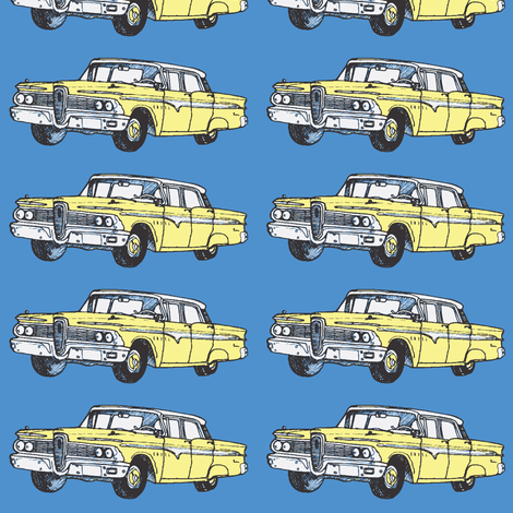 Yellow 1959 Edsel Ranger on blue background fabric by edsel2084 on Spoonflower - custom fabric