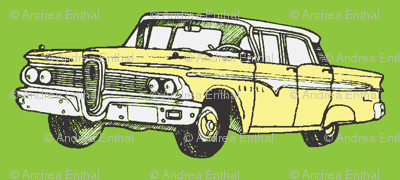 Yellow 1959 Edsel Ranger on green background