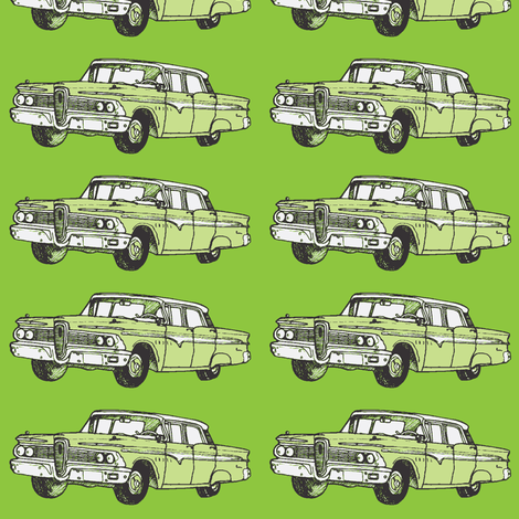 green 1959 Edsel Ranger on olive background fabric by edsel2084 on Spoonflower - custom fabric