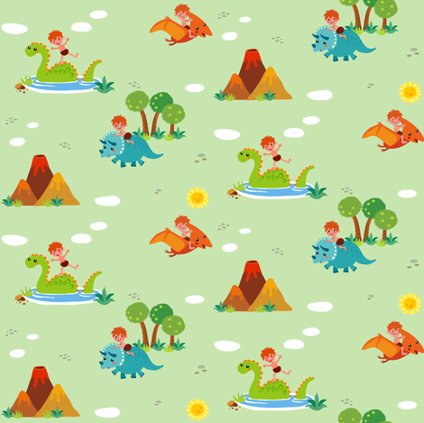 Fun with Dinosaurs | Green fabric by irrimiri on Spoonflower - custom fabric