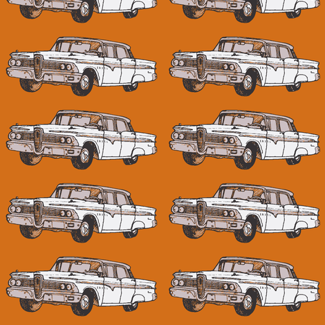 white 1959 Edsel Ranger on rust background