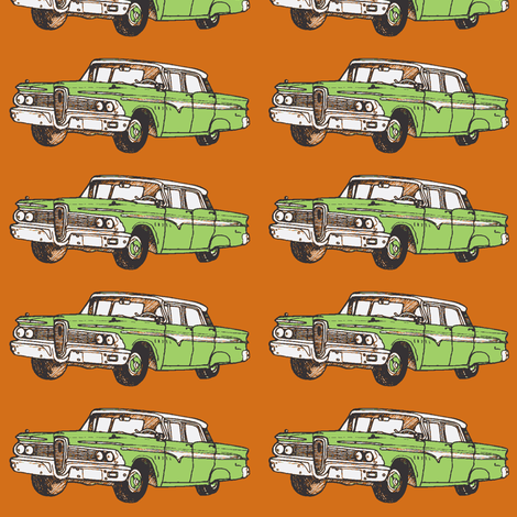 1959 Edsel Ranger 4 door hardtop, green on rust fabric by edsel2084 on Spoonflower - custom fabric
