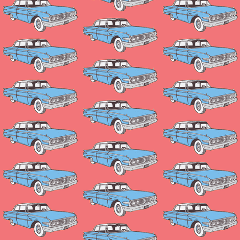 1960 Edsel Ranger 2 door sedan Ranger in light blue fabric by edsel2084 on Spoonflower - custom fabric